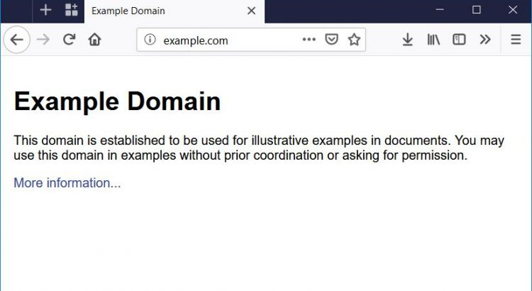 A web browser with the example.com web page loaded