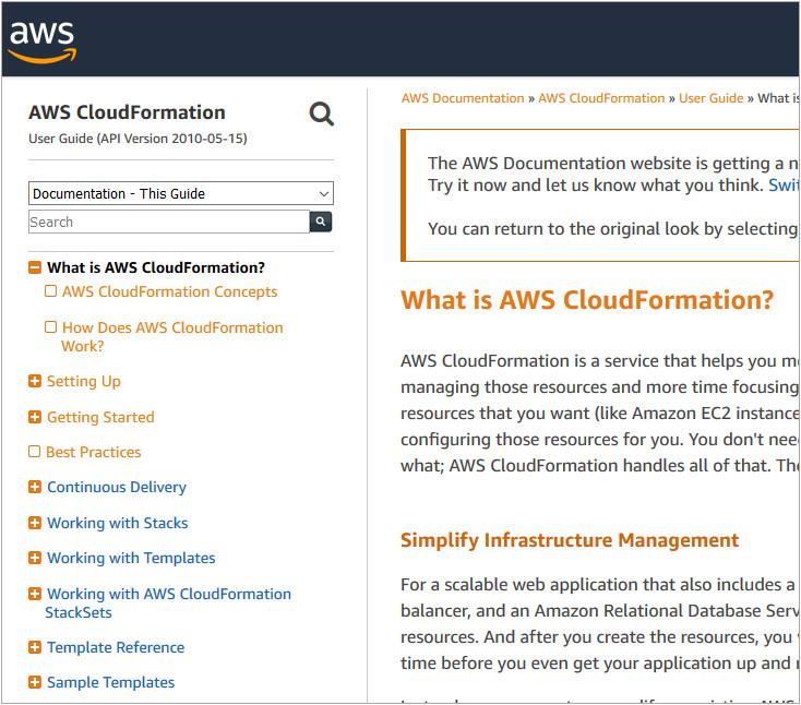 A screen grab of the AWS Documentation taken 2019-09-25