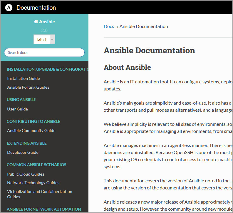 A screen grab of the Ansible Documentation taken 2019-09-25