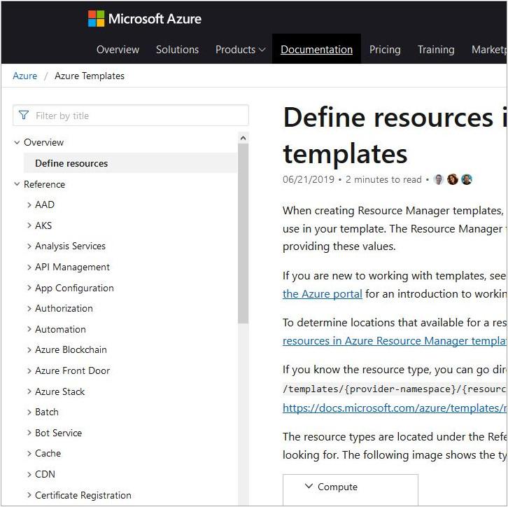 A screen grab of the Azure Documentation taken 2019-09-25