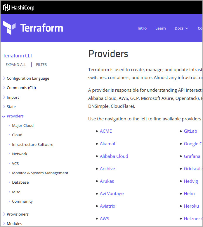 A screen grab of the Terraform Documentation taken 2019-09-25