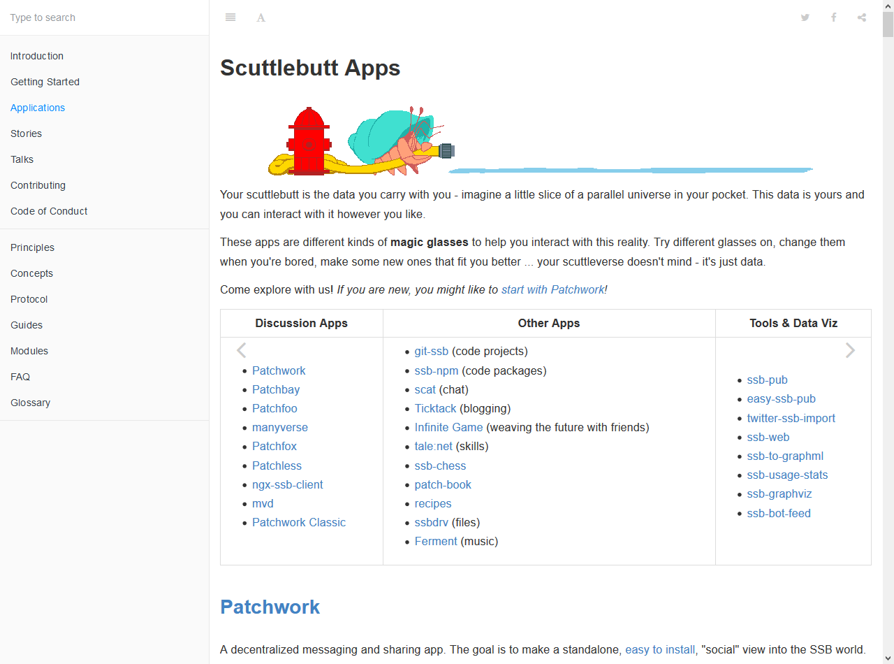 "A screen shot of ""Scuttlebutt Apps"" taken from scuttlebutt.nz on 2019-10-19"