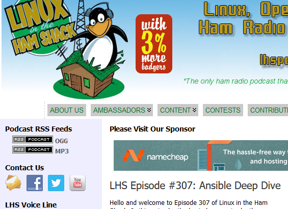 A screen shot of the LHS Podcast Website at 2019-10-16